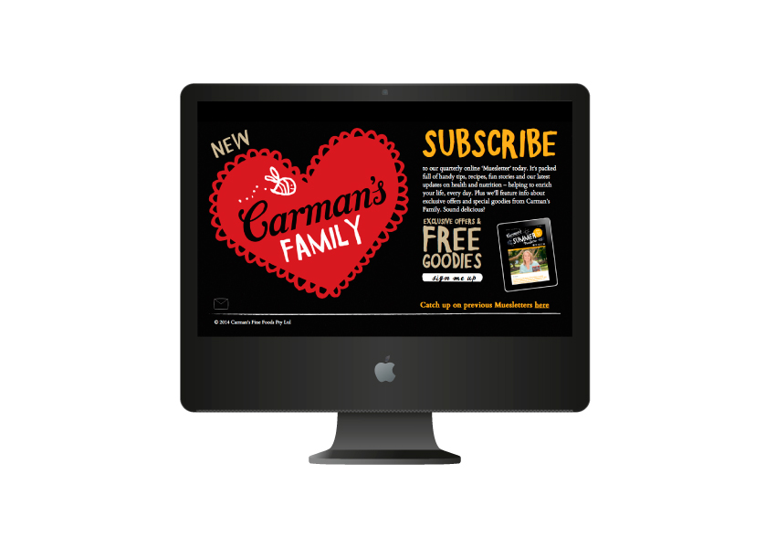 Carman's Family Subscribe Web page