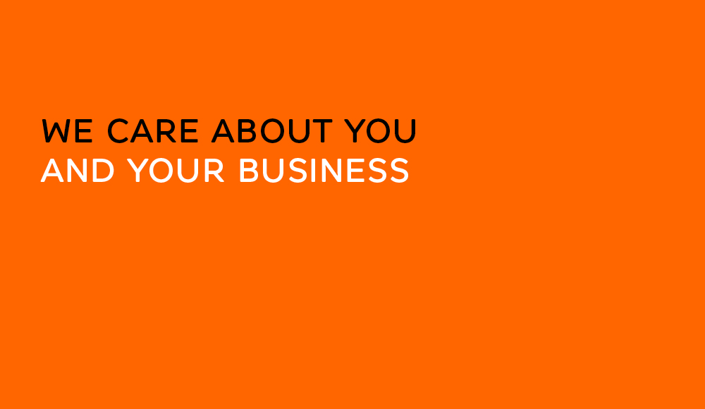 Orange panel with text that reads True Characters cares about you and your business