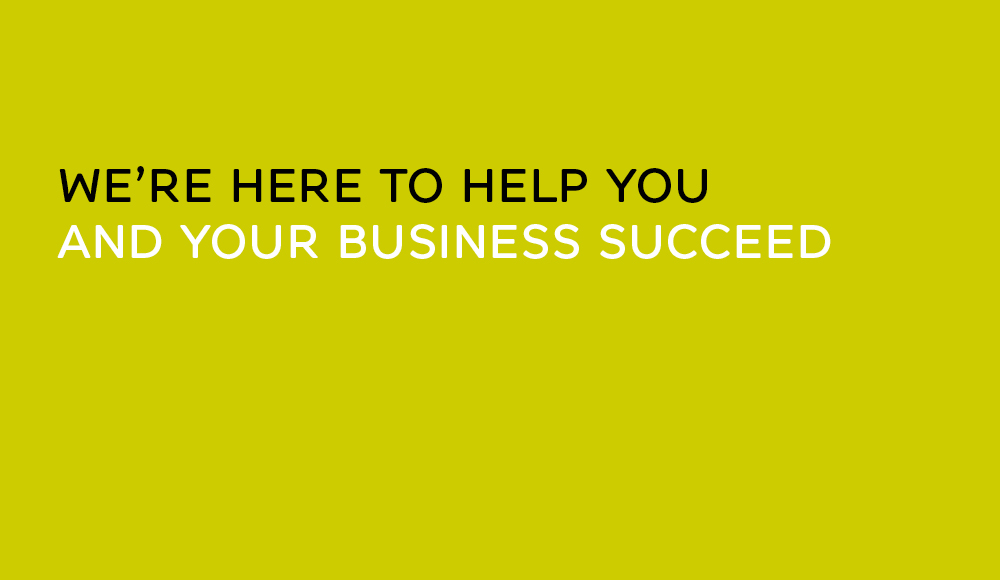 Lime panel with text that reads True Characters is here to help you and your business succeed