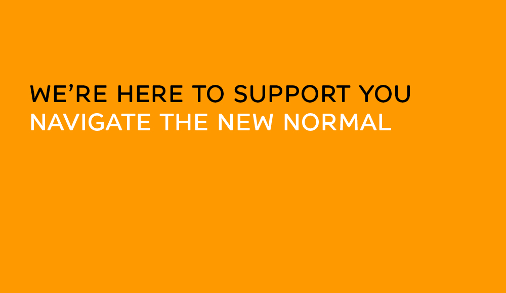Orange panel with text that reads True Characters is here to support you navigate the new normal